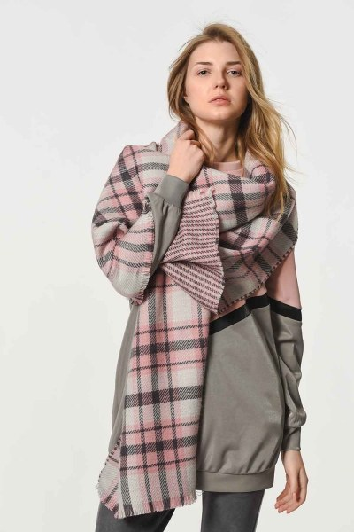 MIZALLE - Plaid Patterned Soft Thick Shawl (Mix) (1)
