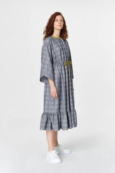Mizalle - Ekose Desenli Uzun Elbise (Lacivert)