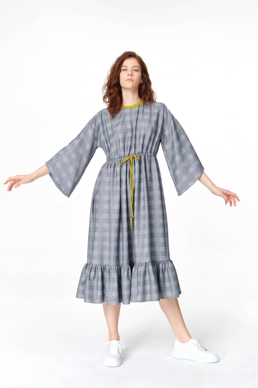 17f94c9495d81 Ekose Desenli Uzun Elbise Lacivert I Mizalle