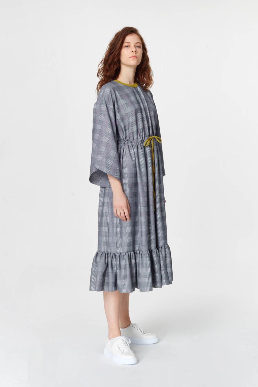 MIZALLE Ekose Desenli Uzun Elbise (Lacivert) (1)
