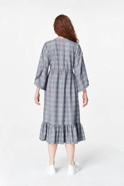 Ekose Desenli Uzun Elbise (Lacivert) - Thumbnail