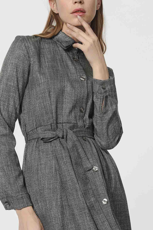 MIZALLE Beli Kuşak Detaylı Elbise (Gri) (1)