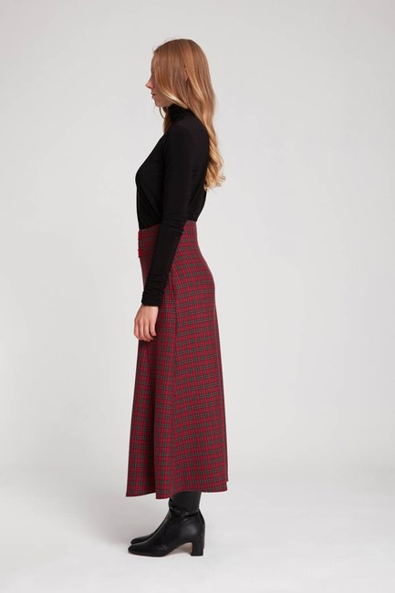 MIZALLE - Plaid Skirt (Red) (1)