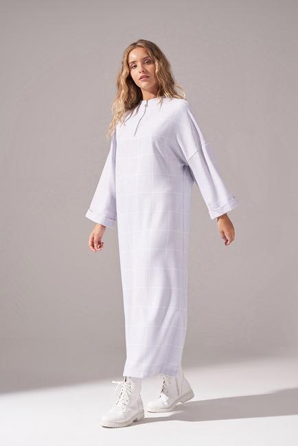Ekose Fermuarlı Elbise (Lila) - Thumbnail
