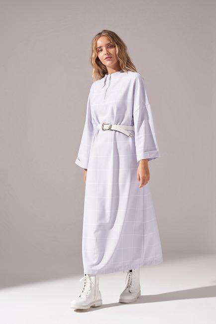 Mizalle - Ekose Fermuarlı Elbise (Lila)