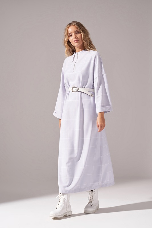 Ekose Fermuarlı Elbise (Lila)