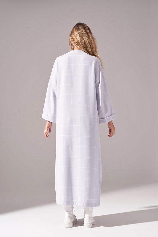 Ekose Fermuarlı Lila Elbise