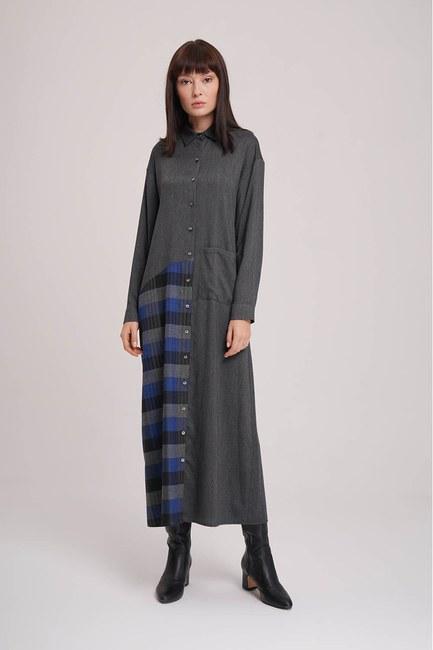 MIZALLE - فستان منقوش (أنثراسايت) (1)