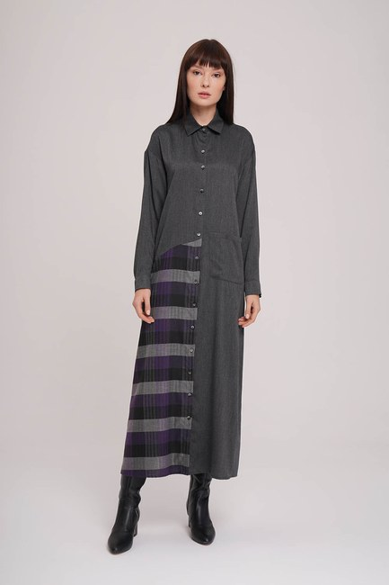 MIZALLE - Plaid Garnished Dress (Purple) (1)