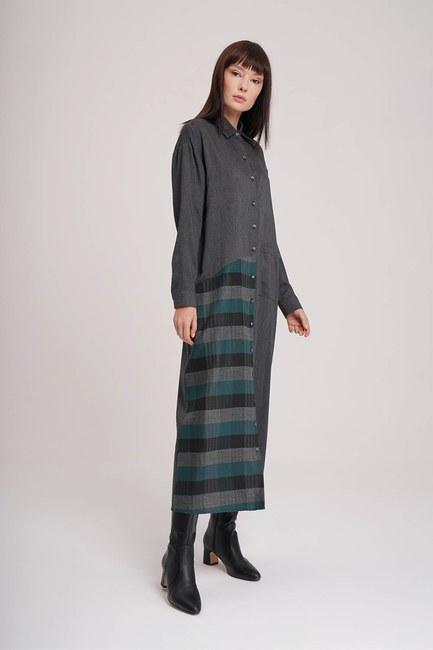 Mizalle - Ekose Garnili Elbise (Yeşil)
