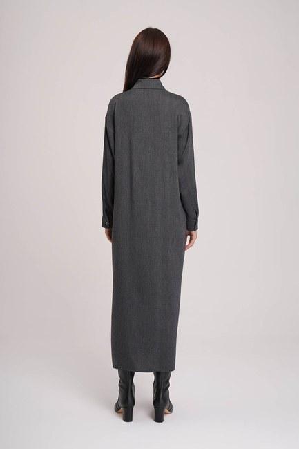 MIZALLE - Ekose Garnili Elbise (Yeşil) (1)