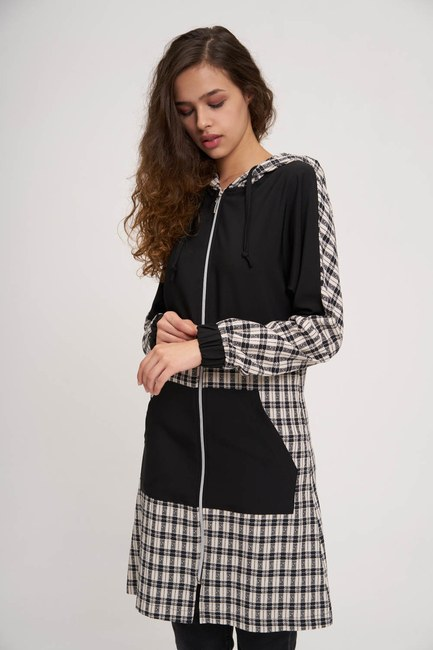 Siyah Ekose Desenli Fermuarlı Sweatshirt - Thumbnail
