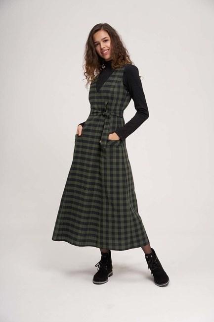 MIZALLE - Plaid Gilet Dress (Khaki) (1)