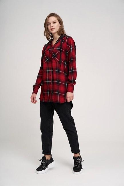 MIZALLE YOUTH - قميص مقنعين عادي (أحمر) (1)