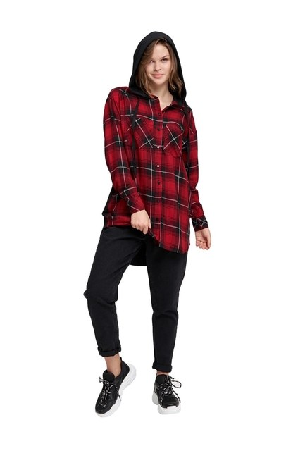 MIZALLE YOUTH Plaid Hooded Shirt (Red)