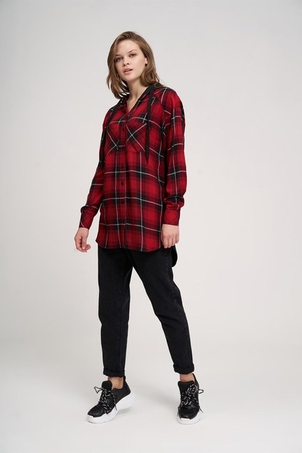 MIZALLE YOUTH - Plaid Hooded Shirt (Red) (1)