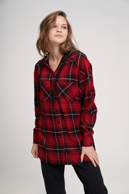 Plaid Hooded Shirt (Red) - Thumbnail