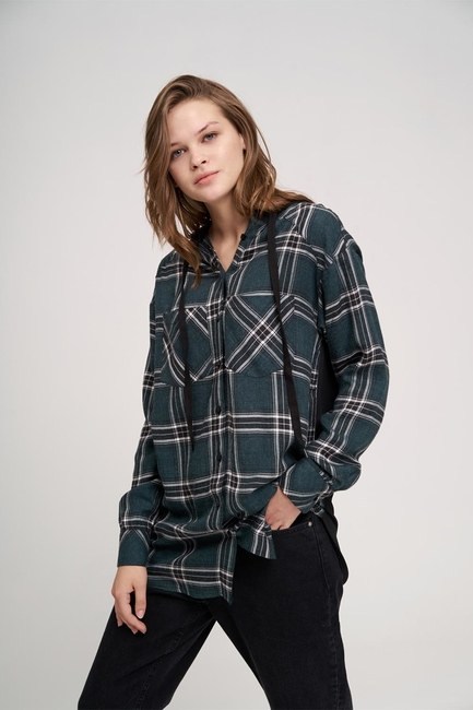 Plaid Hooded Shirt (Green) - Thumbnail