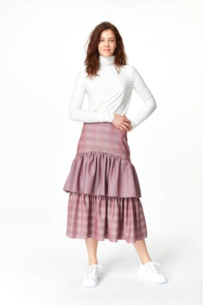 Plaid Long Skirt (Claret Red) - Thumbnail