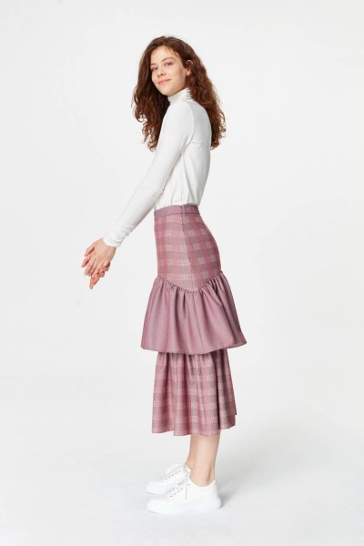 MIZALLE - Plaid Long Skirt (Claret Red) (1)