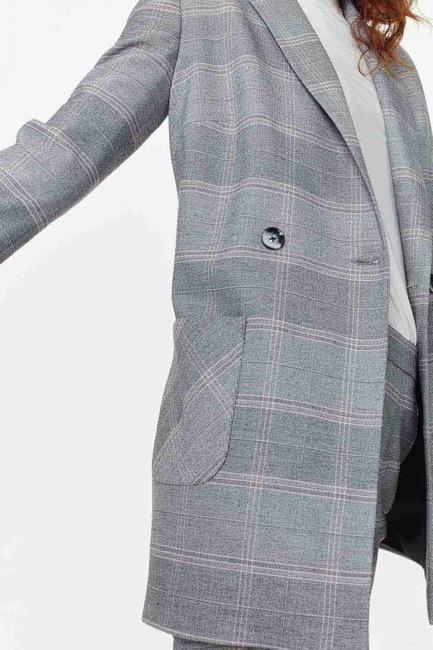 Ekose Kruvaze Uzun Ceket (Gri) - Thumbnail