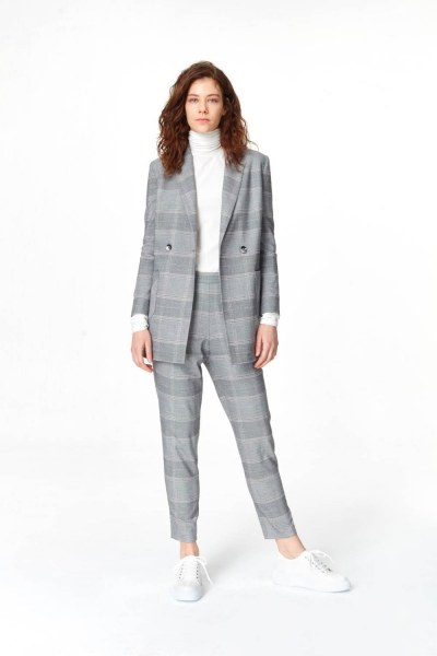 Plaid Double Breasted Jacket (Grey) - Thumbnail