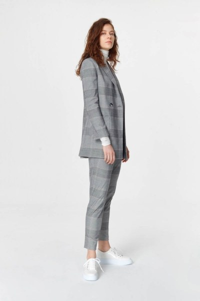 MIZALLE - Plaid Double Breasted Jacket (Grey) (1)