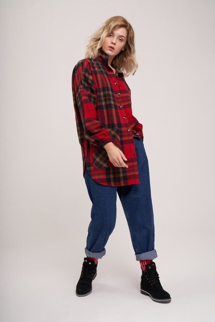 MIZALLE YOUTH - Plaid Lumberjack Pattern Shirt (Red) (1)
