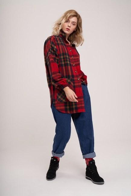 MIZALLE YOUTH - Ekose Oduncu Gömlek (Kırmızı) (1)