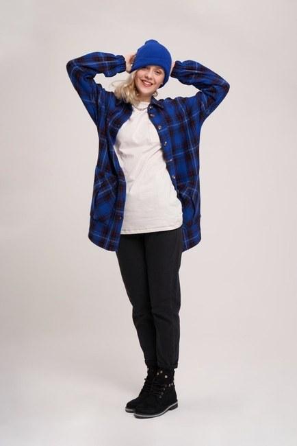 MIZALLE YOUTH - قميص منقوش (أزرق داكن) (1)