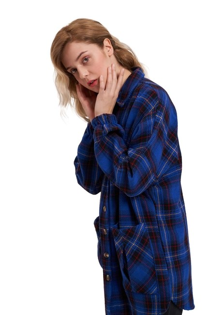 MIZALLE YOUTH Ekose Oduncu Gömlek (Saks)