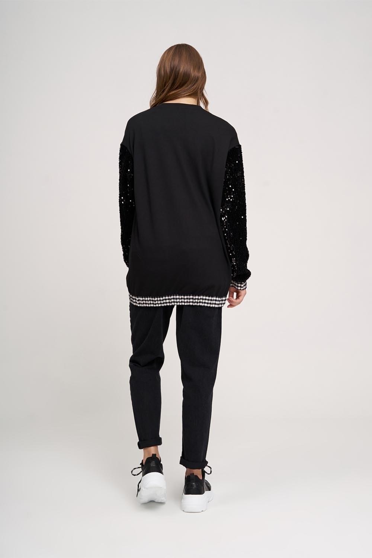 Ekose Pul Sweatshirt (Siyah)