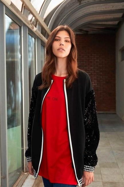 Plaid Sequins Sweatshirt (Black) - Thumbnail