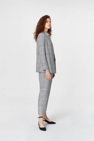 MIZALLE - Plaid Casual Jacket (Blue/Grey) (1)