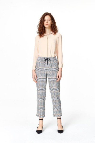 Plaid Casual Trousers (Blue/Grey) - Thumbnail