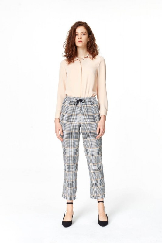 Plaid Casual Trousers (Blue/Grey)