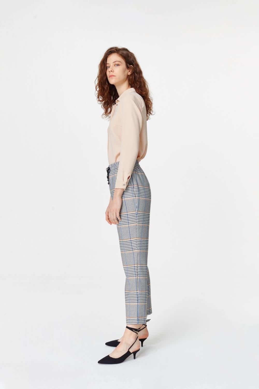 MIZALLE Ekose Rahat Pantolon (Mavi/Gri) (1)