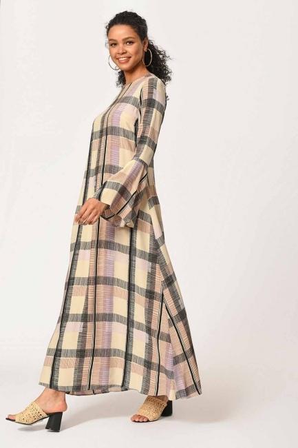 MIZALLE - Ekose Renkli Uzun Elbise (Bej/Pudra) (1)