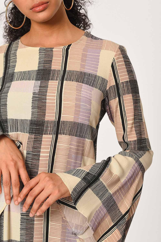 MIZALLE Ekose Renkli Uzun Elbise (Bej/Pudra) (1)