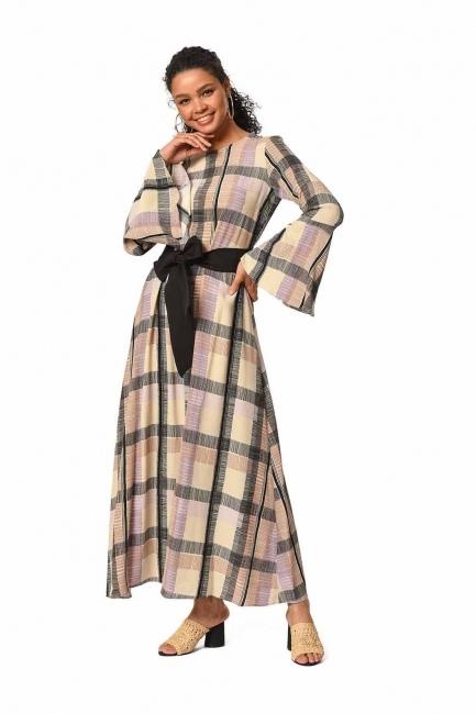 Ekose Renkli Uzun Elbise (Bej/Pudra) - Thumbnail