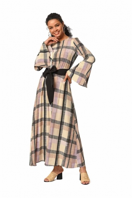 Plaid Colored Long Dress (Beige/Powder) - Thumbnail