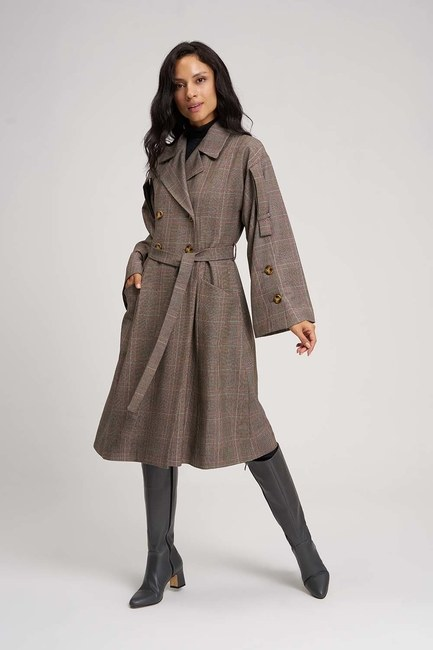 MIZALLE - Plaid Trench Coat (Claret Red) (1)