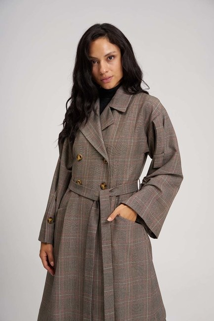Plaid Trench Coat (Claret Red) - Thumbnail