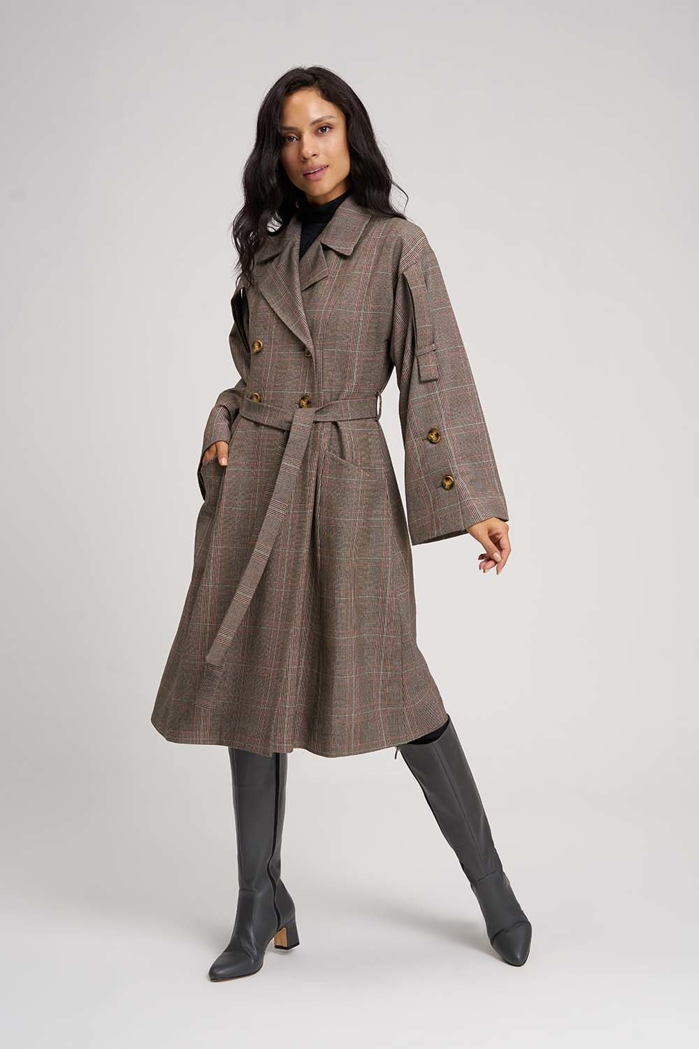 MIZALLE Plaid Trench Coat (Claret Red) (1)