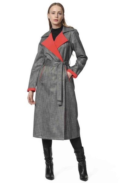 Plaid Trenchcoat (Red) - Thumbnail