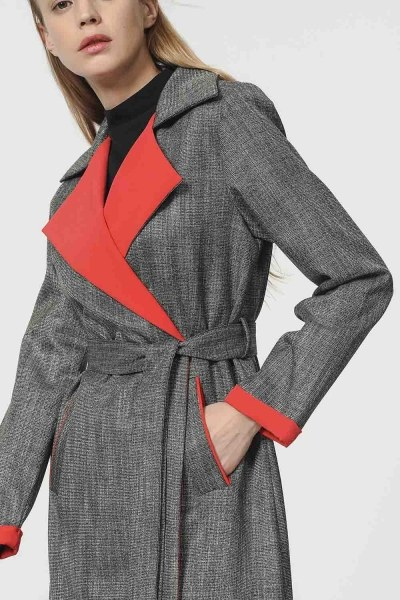 MIZALLE - Plaid Trenchcoat (Red) (1)