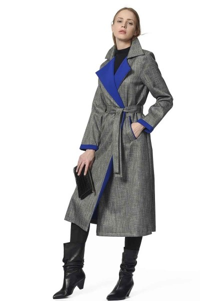 MIZALLE Plaid Trenchcoat (Blue)
