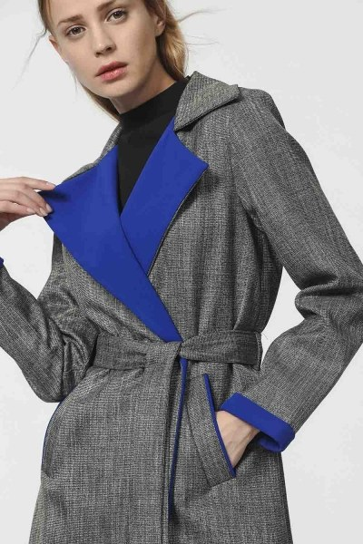 MIZALLE - Plaid Trenchcoat (Blue) (1)