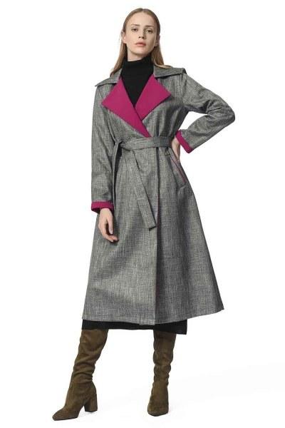 MIZALLE Plaid Trenchcoat (Purple)