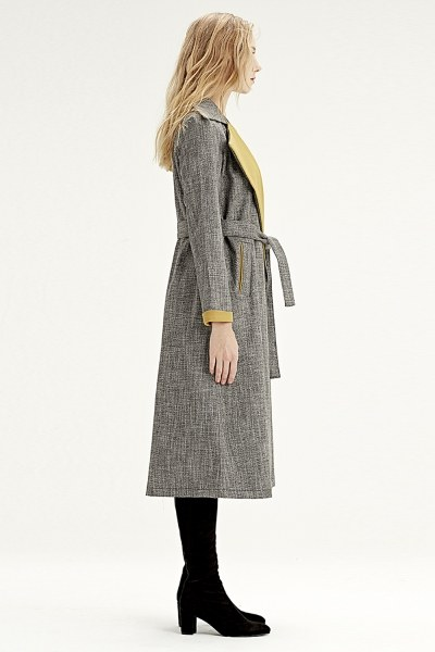 MIZALLE - Check Patterned Trenchcoat (Yellow) (1)